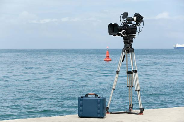 video camera ready to record stock photo