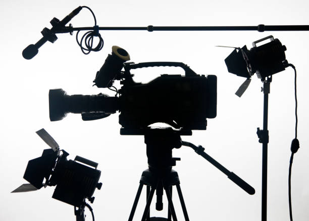 video camera with gear stock photo