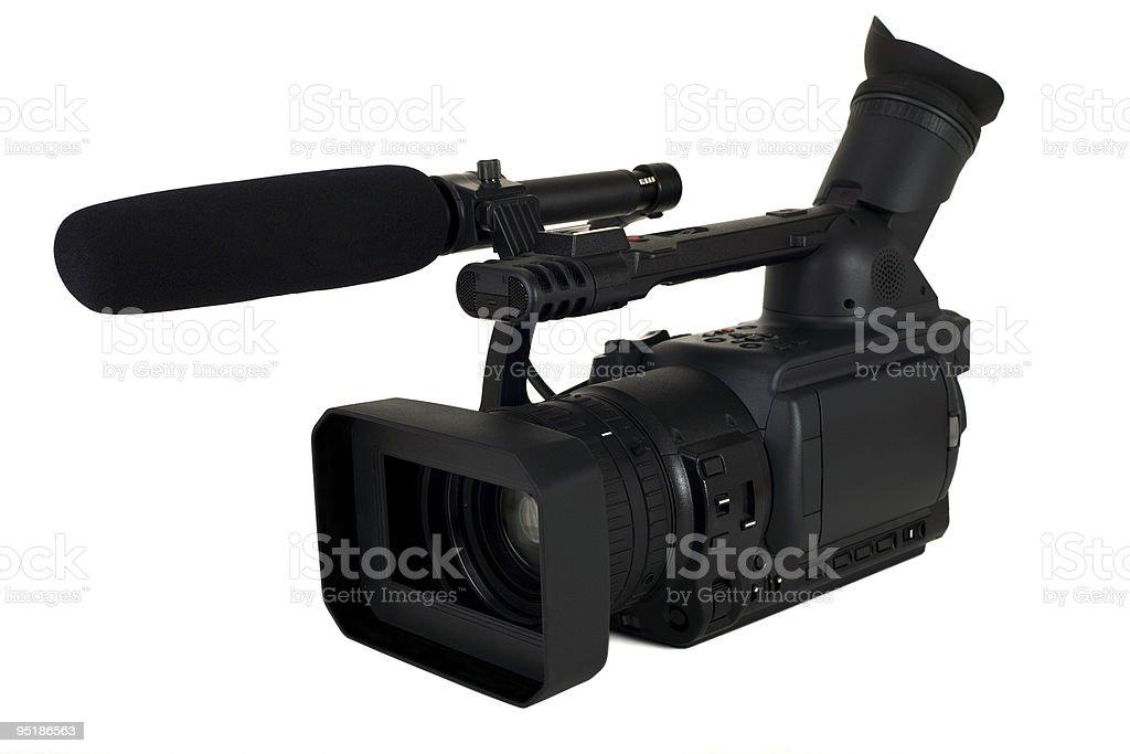 HD video camera with shotgun microphone stock photo
