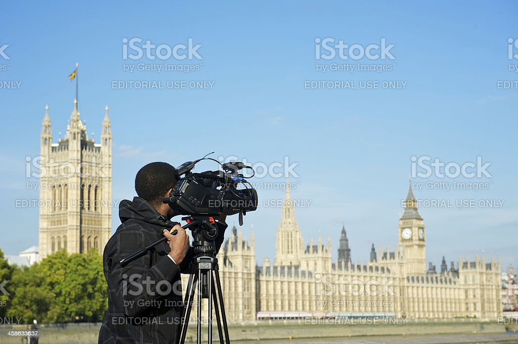 Video Cameraman Films London Skyline royalty-free stock photo