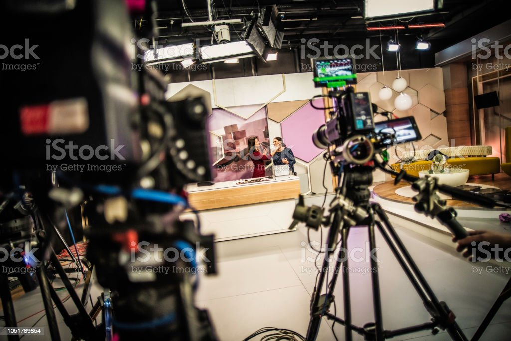 Video cameras on a television set stock photo