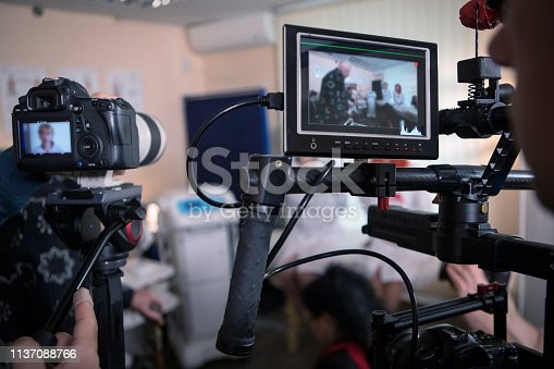 istock Video cameras on the set, backstage movie scenes 1137088766
