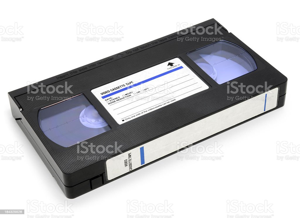 A VHS video cassette against a white background royalty-free stock photo