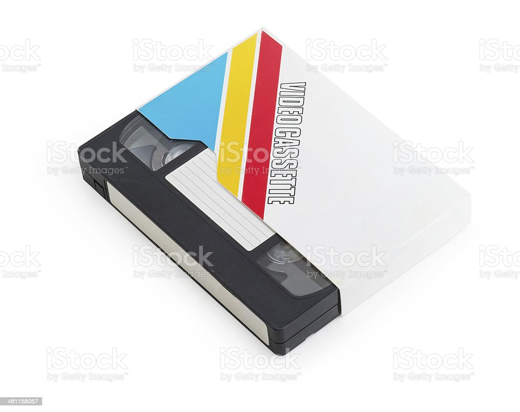 VHS video cassette isolated on white background stock photo