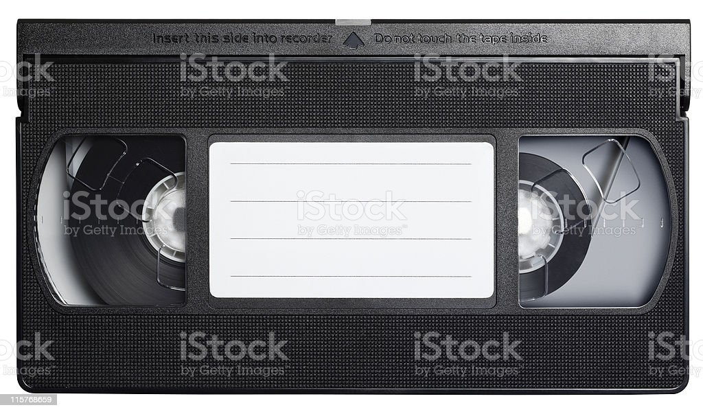 Video cassette tape isolated on white. stock photo