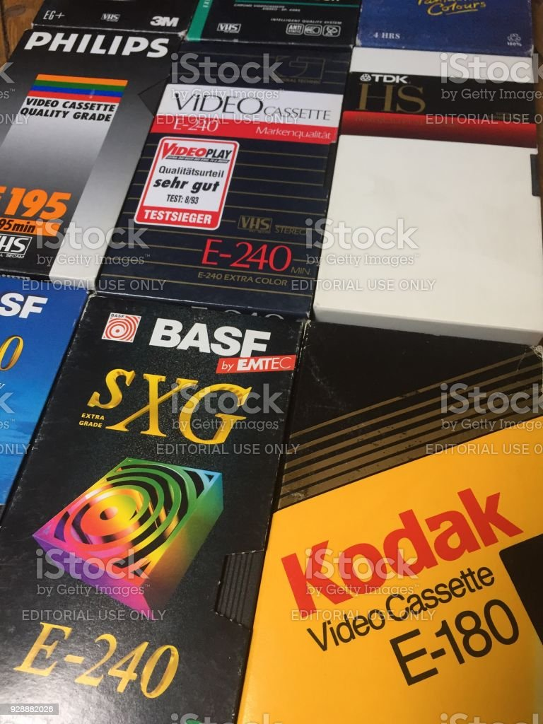 VHS video cassettes, many brands are recognizable stock photo