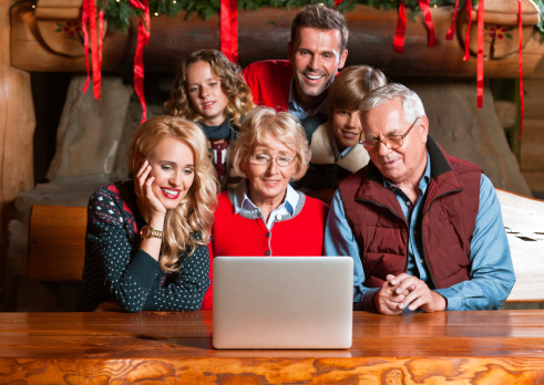 Video Chat During Christmas Stock Photo - Download Image Now