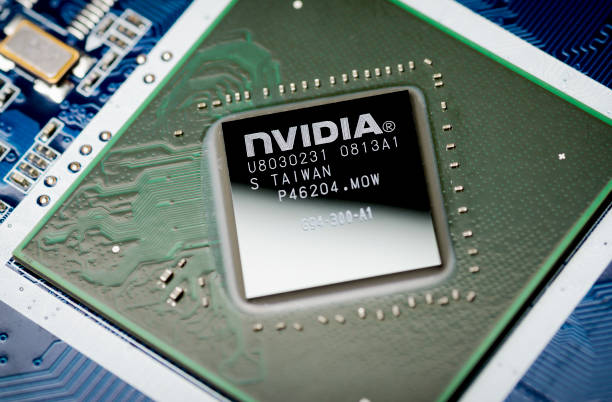 Moscow, Russia - April 7, 2019: NVIDIA video chip on the motherboard