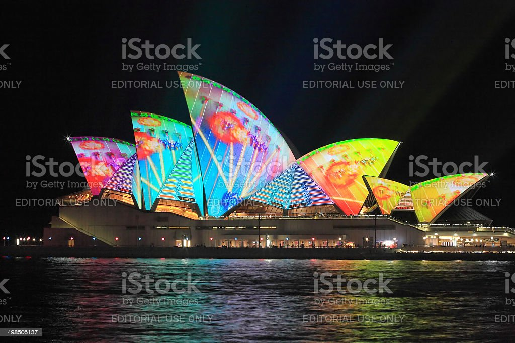Video Computer game on the Sydney Opera House stock photo