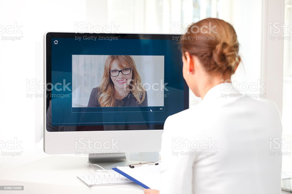 Video conference at office stock photo