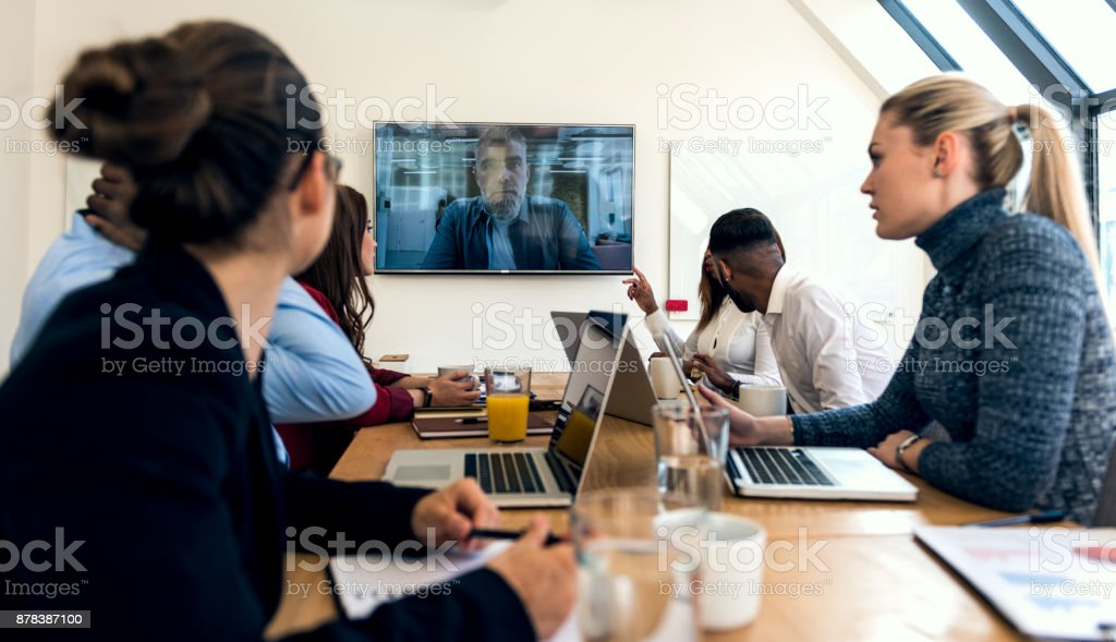 Video conference at the office stock photo