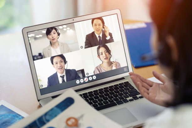 Video conference concept. Teleconference. Telemeeting. Webinar. Online seminar. e-Learning. stock photo