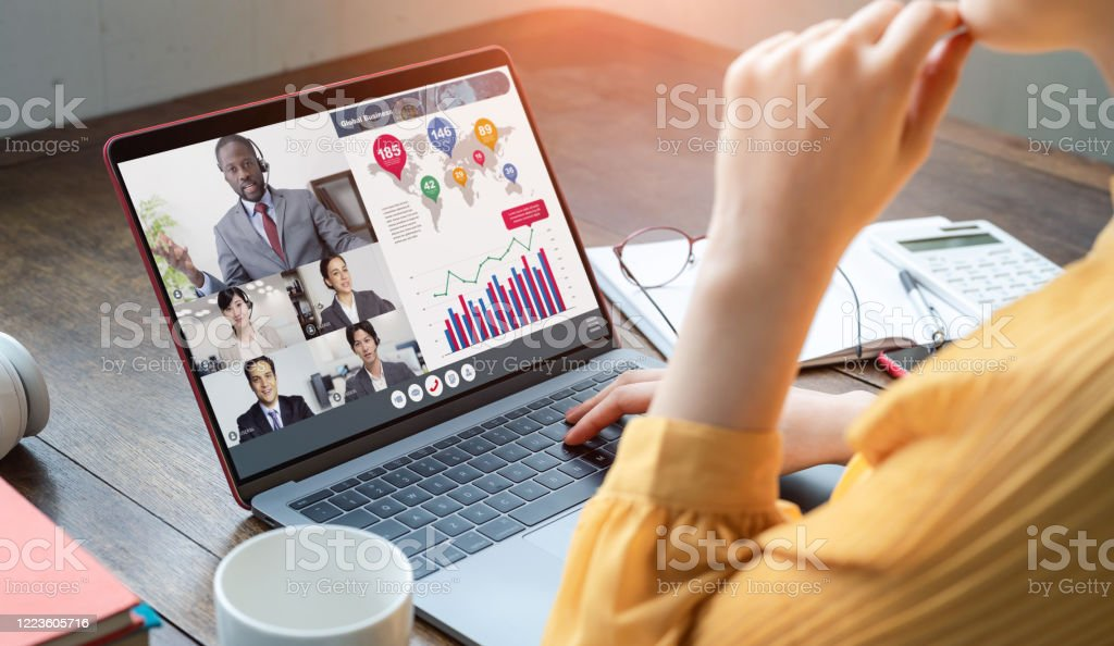 Video conference concept. Teleconference. Telemeeting. Webinar. Online seminar. e-Learning. - Royalty-free African Ethnicity Stock Photo