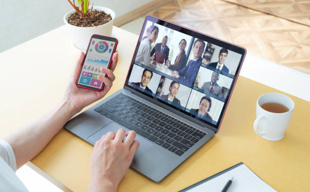 Video conference concept. Teleconference. Video chat. stock photo