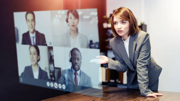 Video conference concept. Teleconference.  Webinar. Online seminar. e-Learning. stock photo