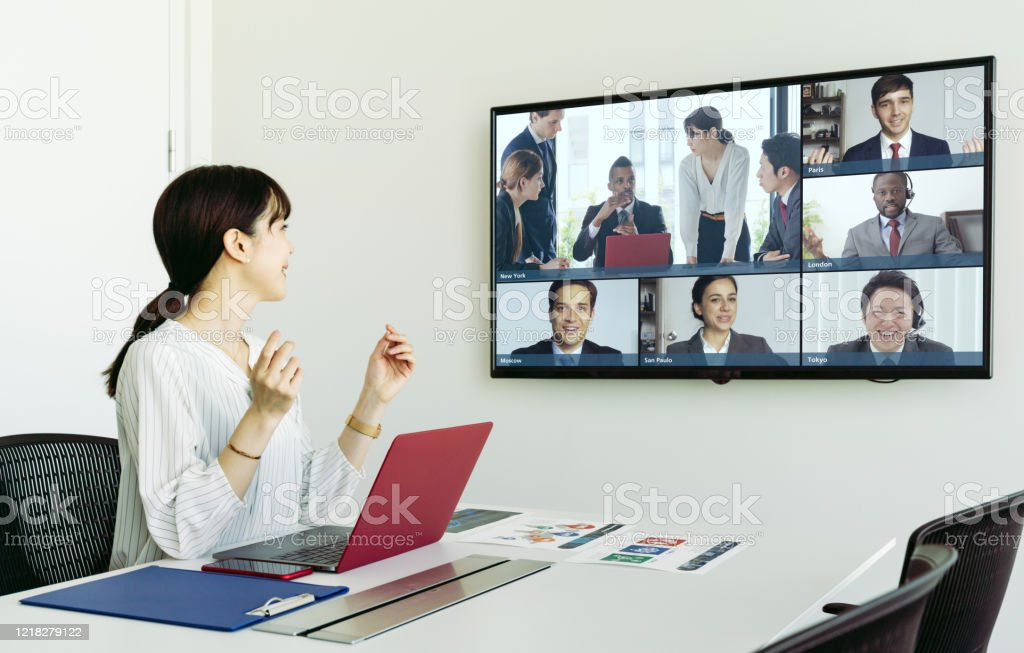 Video conference concept. Telemeeting. Videophone. Teleconference. - Royalty-free 5G Stock Photo