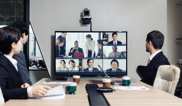 Video conference concept. Telemeeting. Videophone. Teleconference. stock photo