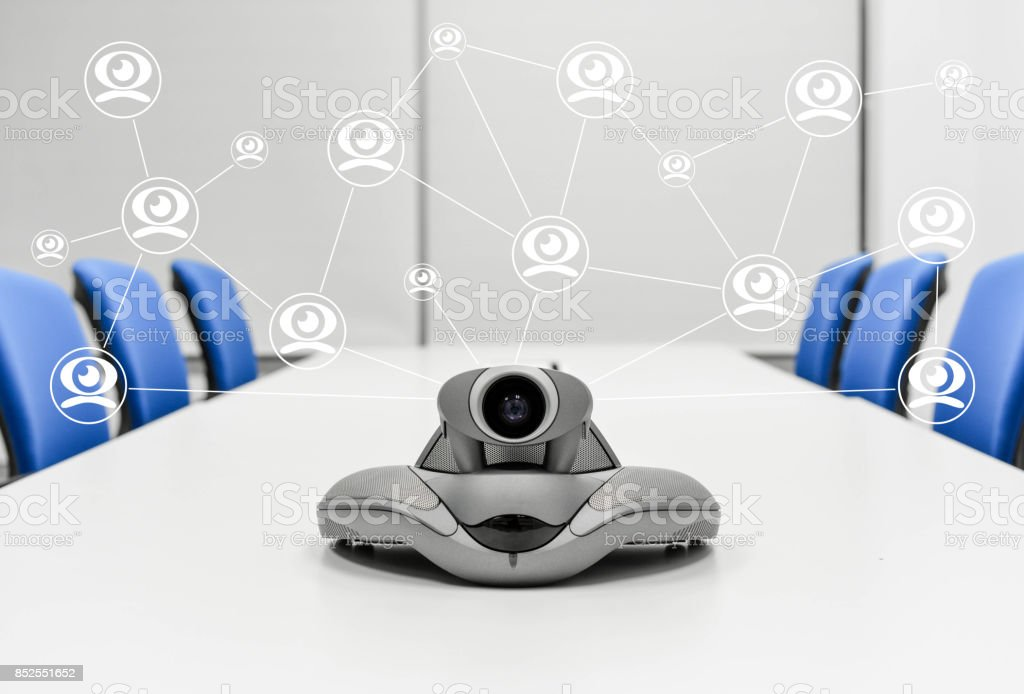 Video Conference Connecting to another device stock photo