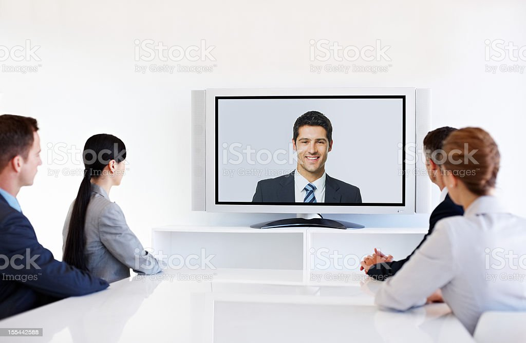 Video Conference During Meeting royalty-free stock photo