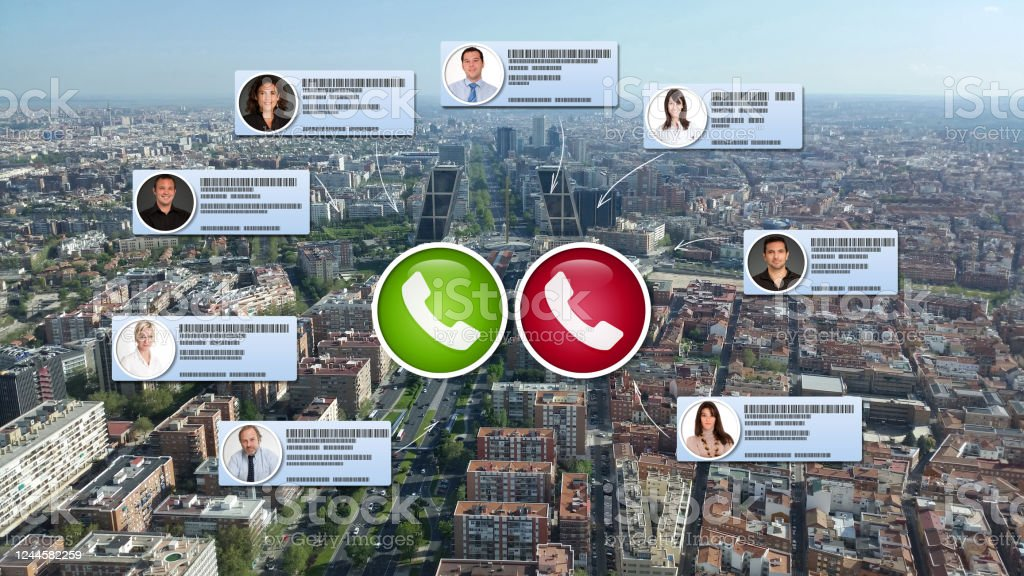 Video conference in Madrid Virtual business meeting taking place in Madrid Building Exterior Stock Photo
