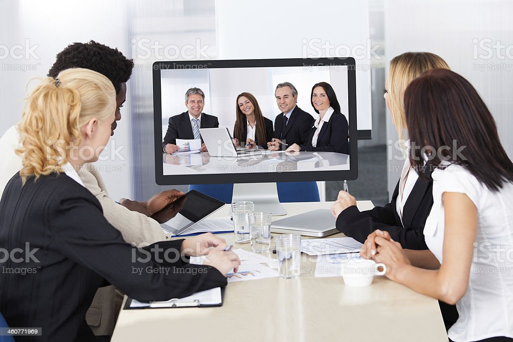 Video conference in the office stock photo