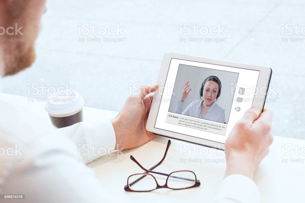 video conference or coaching online stock photo