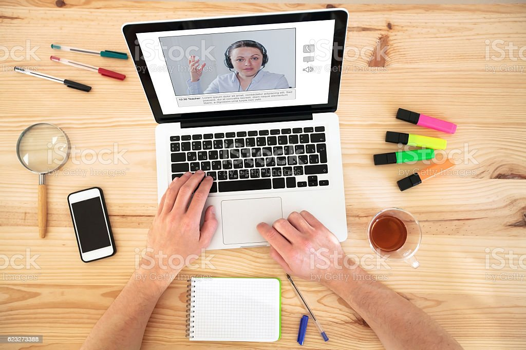 video conference or webinar, education online stock photo