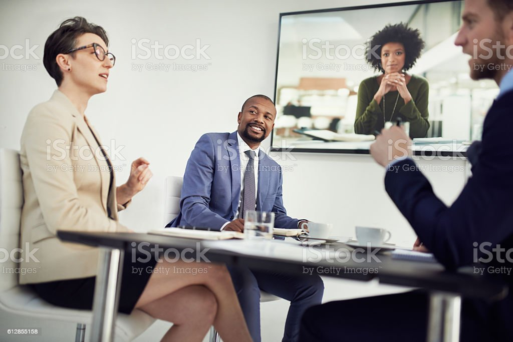 Video conferencing makes the meetings more productive and interactive stock photo