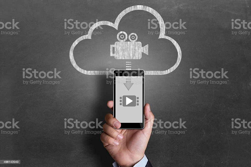 Video downloading from cloud server royalty-free stock photo