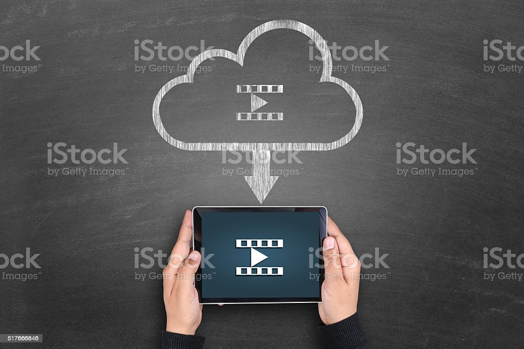 Video downloading from cloud server stock photo