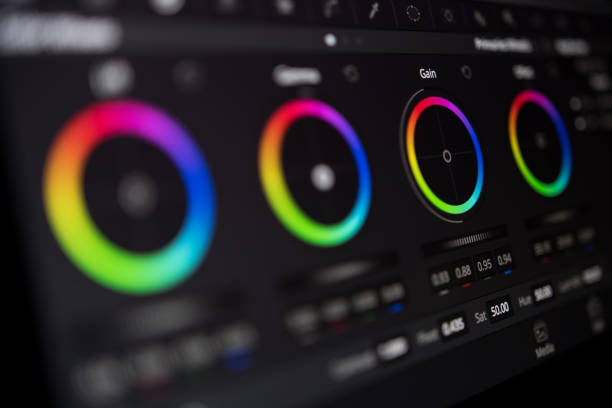 video-editing - korrektur-farbbildschirm hautnah - postproduktion stock-fotos und bilder