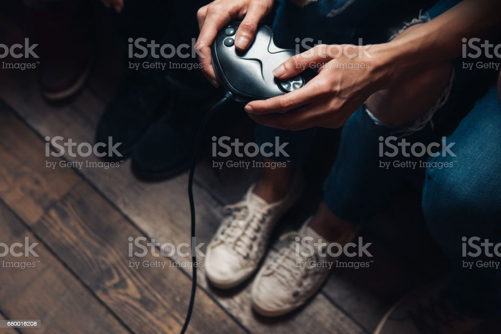 Video game addiction. Excessive play, lifestyle stock photo
