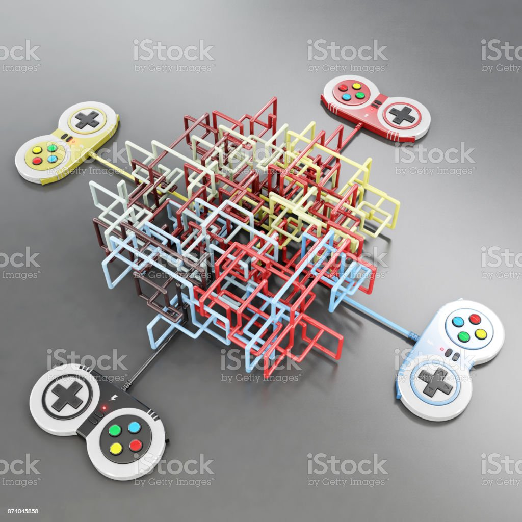 video game controlers connected with wire shaping a maze stock photo
