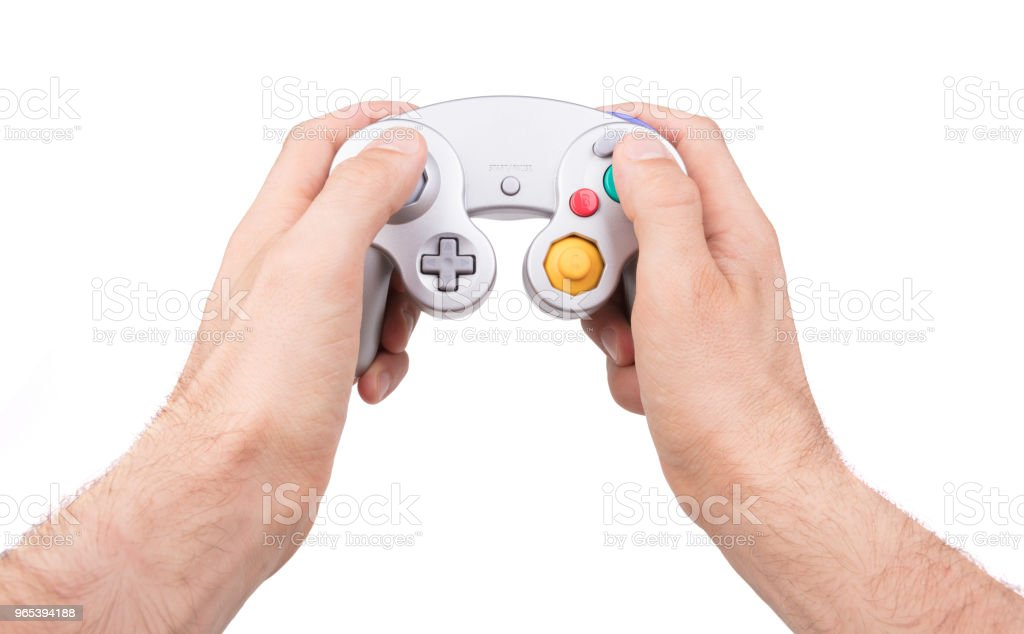 Video game controller on white background royalty-free stock photo