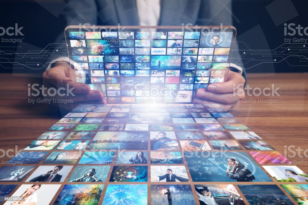 video hosting website. movie streaming service. digital photo album. stock photo