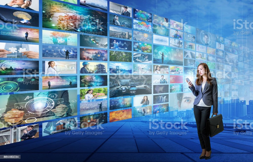 video hosting website. movie streaming service. digital photo album. stock photo