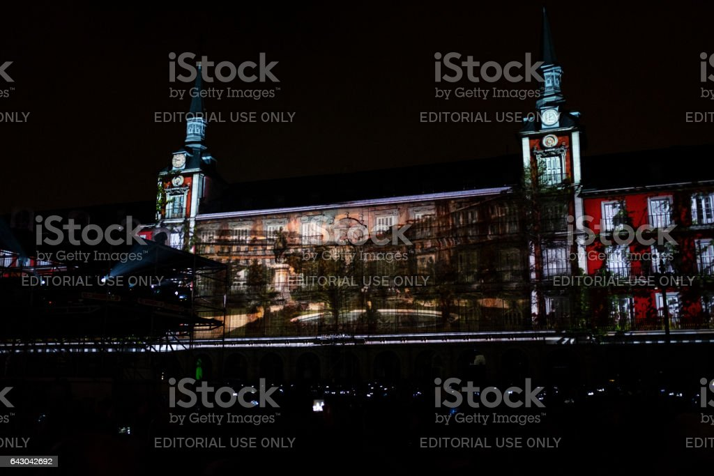 Video mapping on the Plaza Mayor in Madrid stock photo