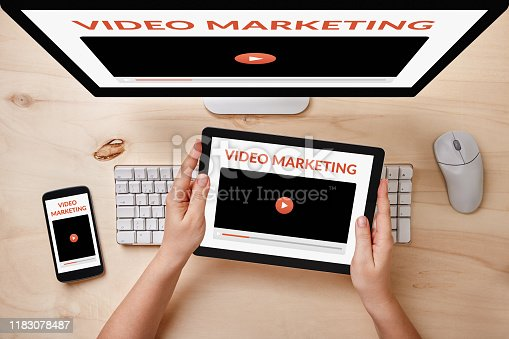 1134879628 istock photo Video marketing concept on responsive devices 1183078487