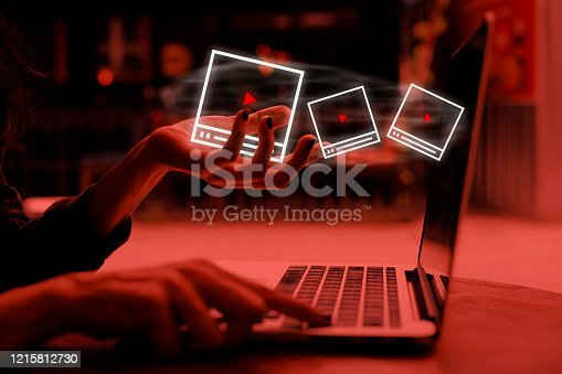 Video Marketing Concept.Hand pressing transparent white button