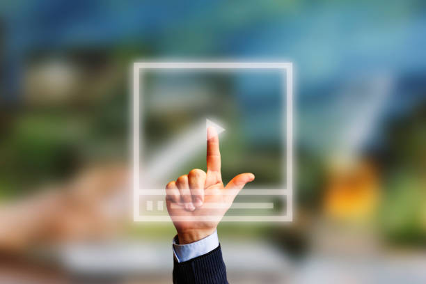 video marketing concept.hand pressing transparent white button - side hustle stock pictures, royalty-free photos & images