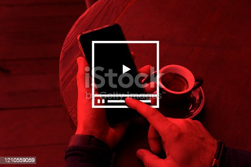 Video Marketing Concept.Hand pressing transparent white button