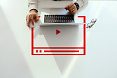istock Video Marketing Concept.Hand pressing transparent white button 1215423706