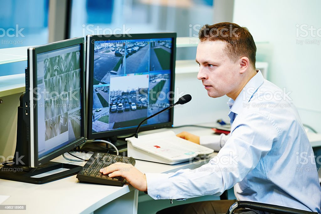 video monitoring surveillance security system stock photo