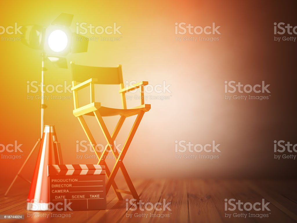 Video, movie, cinema concept.  ?lapperboard and director chair. stock photo