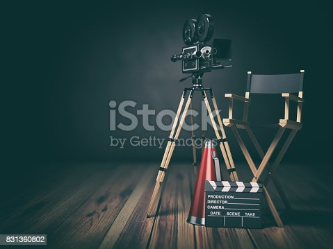 istock Video, movie, cinema concept. Retro camera, clapperboard and director chair. 3d 831360802