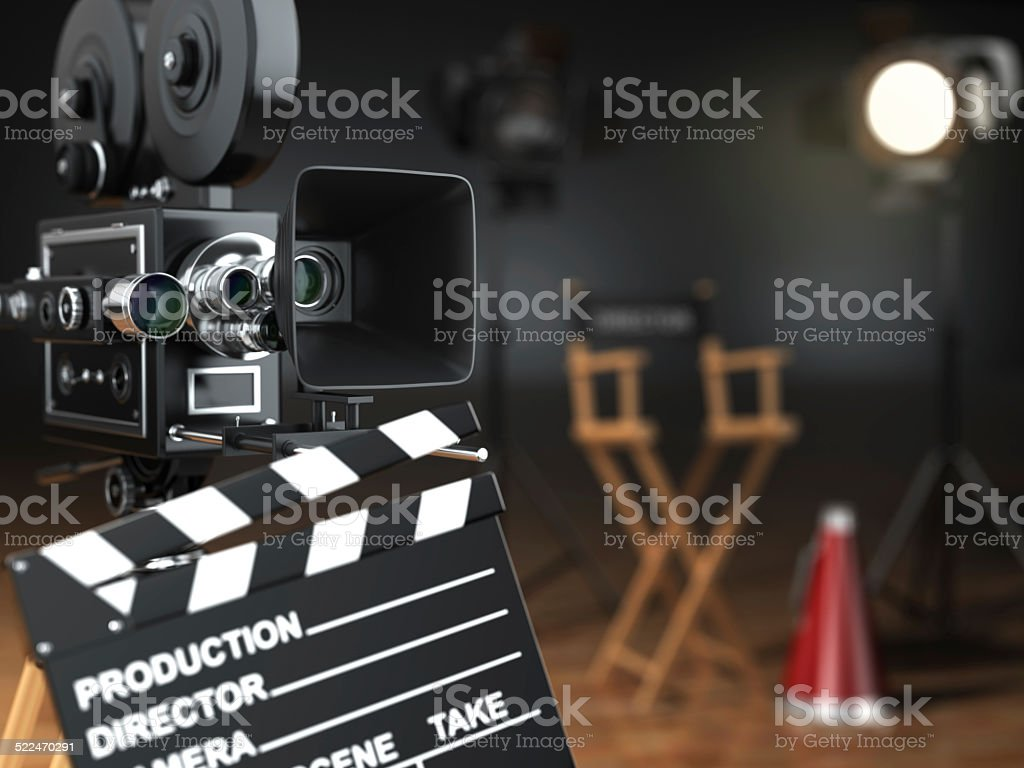 Video, movie, cinema concept. Retro camera, flash, clapperboard stock photo