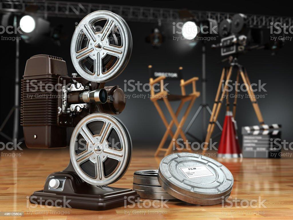 Video, movie, cinema concept. Vintage projector, retro camera, r stock photo