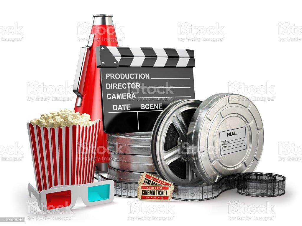 Video, movie, cinema vintage production concept. Film reels, cla stock photo