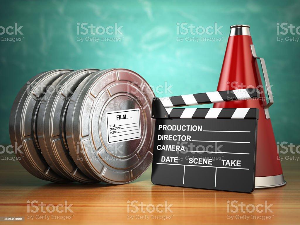 Video, movie, cinema vintage production concept. Reels, clapperb stock photo