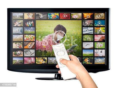 istock Video on demand VOD service on TV. 478389718
